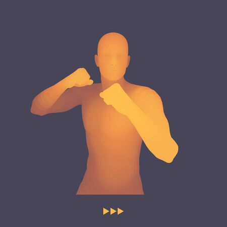 stance: Boxer. 3D Model of Man. Human Body. Sport Symbol. Design Element. Vector Illustration.