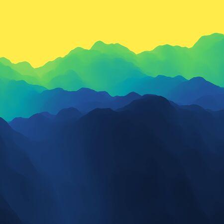 ridge: Mountain Landscape. Mountainous Terrain. Vector Illustration. Abstract Background.