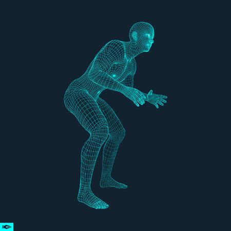 stance: Fighter. 3D Model of Man. Human Body. Sport Symbol. Design Element. Vector Illustration.