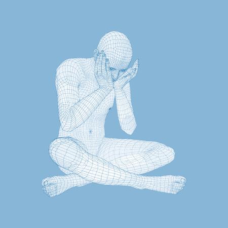 Miserable deprimierter Mann sitzen und denken. Mann in einem Denker-Pose. 3D-Modell des Menschen. Vektor-Illustration.