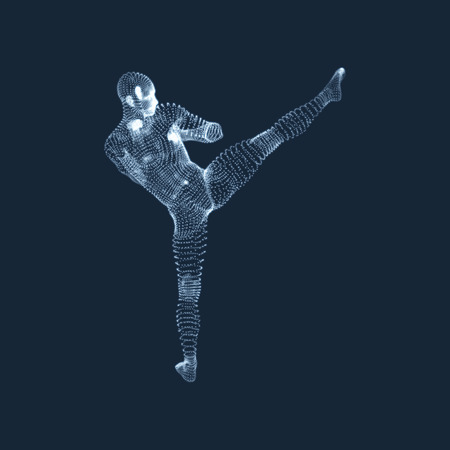 execute: Kickbox Fighter Preparing to Execute a High Kick. Fitness, Sport, Training and Martial Arts Concept. 3D Model of Man. Human Body. Design Element. Vector Illustration. Illustration