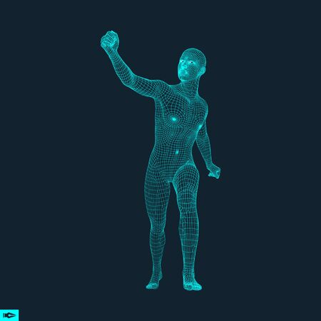guy standing: Standing Man. Human with arm up. Silhouette for sport championship. The victory celebration. 3D Model of Man. Vector Illustration.