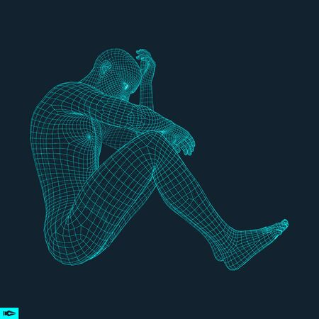 thoughtful: Man in a Thinker Pose. 3D Model of Man. Geometric Design. Human Body Wire Model. Business, Science, Psychology or Philosophy Vector Illustration.