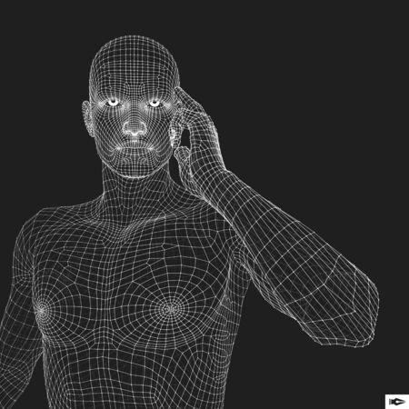 Man in a Thinker Pose. 3D Model of Man. Geometric Design. Business, Science, Psychology or Philosophy Vector Illustration. Illustration