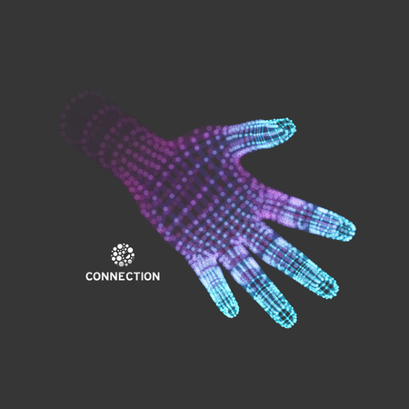 virtual sculpture: Human Arm. Hand Model. 3d Covering Skin. Vector Illustration.