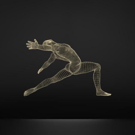 Man is Posing and Dancing. Silhouette of a Dancer. A Dancer Performs Acrobatic Elements. Sports Ñoncept. 3D Model of Man. Human Body. Sport Symbol. Design Element. Vector Illustration. Illustration