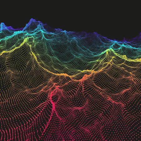 Landscape Background. Terrain. Cyberspace Grid. 3D Technology Vector Illustration.