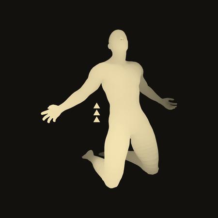 moneyless: 3D Model of Man. Man who prays. Concept for Religion, Worship, Love and Spirituality. Vector Illustration. Illustration
