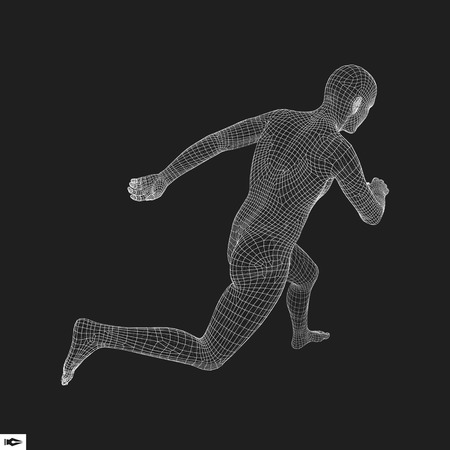 figura humana: 3d hombre de funcionamiento. Diseño para el Deporte, Negocio, Ciencia y Tecnología. Ilustración del vector. Cuerpo humano.