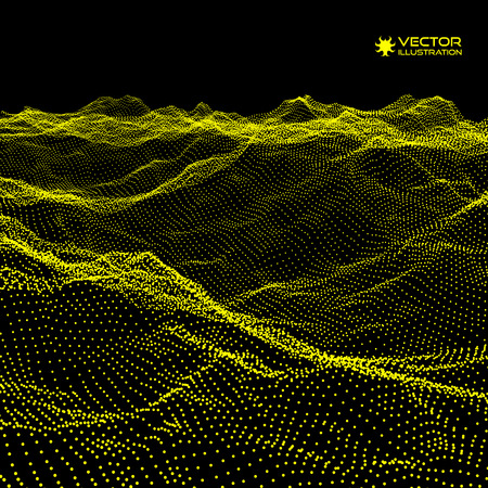 alpinism: Landscape Background. Terrain. 3D Technology Vector Illustration. Array with Dynamic Particles. Cyberspace grid. Futuristic Design.