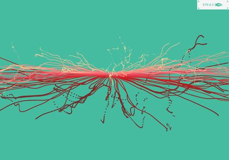 Point de Explode. Tableau avec Dynamic Émis particules. Style de la technologie 3D. Résumé Contexte. Vector Illustration.