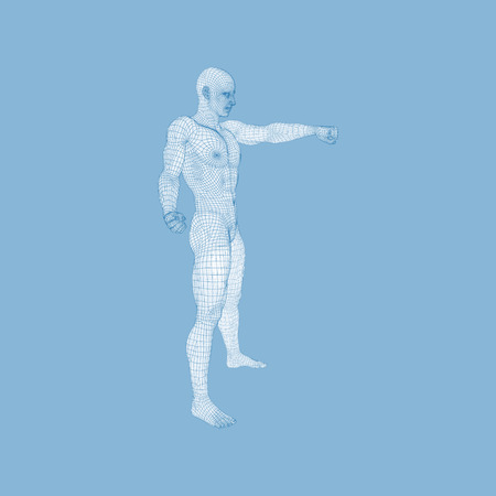 human finger: Man Pointing his Finger. 3D Model of Man. Geometric Design. Vector Illustration. 3d Polygonal Covering Skin. Human Polygon Body. Human Body Wire Model.