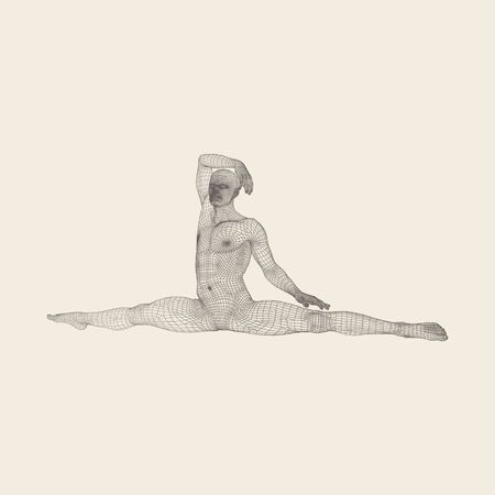 Gymnast. Athletic man doing hand exercises sitting on the splits. 3D Human Body Model. Gymnastics Activities for icon health and fitness community.