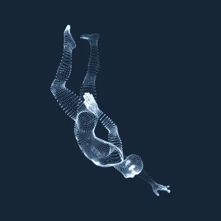 Man Falls Down from a Height. Man Fall on a Jump. 3D Model of Man. Human Body Model. Vector Illustration.