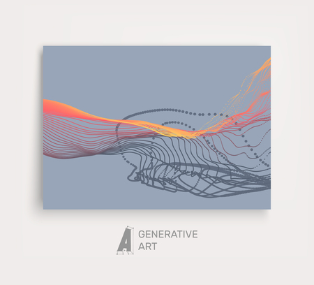 cover art: Array with Dynamic Emitted Particles. Flowing Particle Waves. Textbook, booklet or notebook mockup. Business brochure. Cover design template. Generative art. Vector Illustration.