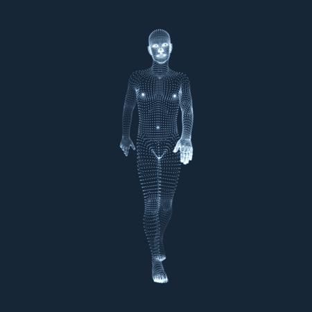 stride: Walking Man. 3D Human Body Model. Geometric Design. Vector Illustration. Illustration