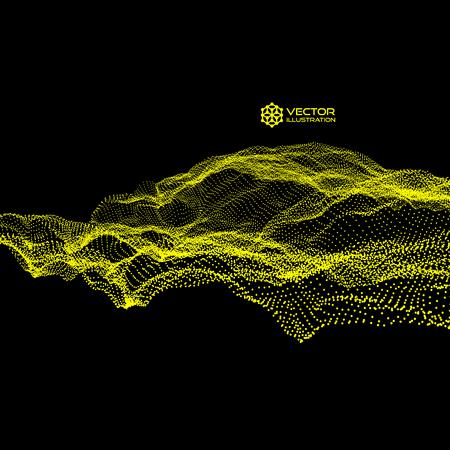 동적 방출 입자가있는 배열. 흐르는 입자 파. 추상 과학 또는 기술 배경입니다. 그래픽 디자인. 모션 벡터 일러스트 레이 션.