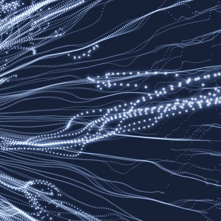 billowy: Wave Background. Ripple Grid. Abstract Vector Illustration. 3D Technology Style. Illustration with Dots. Network Design with Particle. Illustration