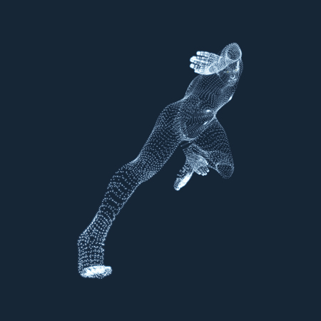 athletes: Running Man. Vector Graphics Composed of Particles. 3D Model of Man. Human Body Model. Body Scanning. View of Human Body.