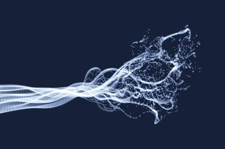 Array mit Dynamic emittierten Teilchen. Water Splash Imitation. Abstrakter Hintergrund. Vektor-Illustration. Standard-Bild - 74960054
