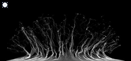 Tableau avec Dynamic Émis particules. Water Splash Imitation. Résumé Contexte. Vector Illustration.