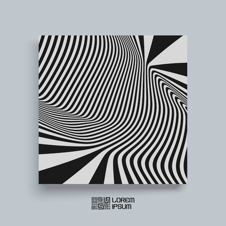 notebook cover: Pattern with optical illusion. Black and white background. Textbook, booklet or notebook mockup. Illustration