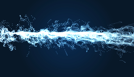 volt: Electricity lighting effects. Array with Dynamic Particles. 3d Futuristic technology style. Abstract Background. Glowing points. Vector Illustration.