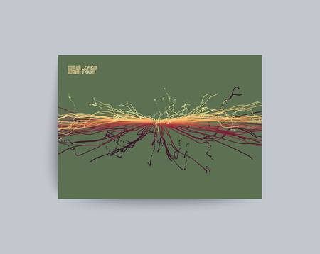 cover art: Point Explode. Array with Dynamic Emitted Particles. Textbook, booklet or notebook mockup. Business brochure. Cover design template. Generative art. Vector Illustration.