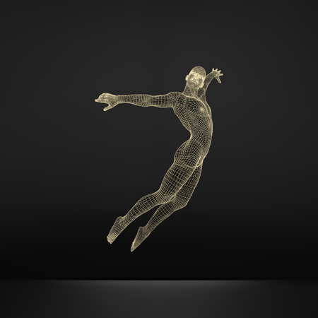 saltar: Silhouette of a Jumping Man. 3D Model of Man. Geometric Design. Polygonal Covering Skin. Human Body Wire Model. Vector Illustration. Vectores
