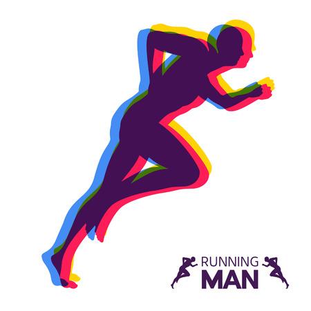 Silueta de un hombre corriente. Diseño para el Deporte. Emblema para maratón y trotar. Ilustración vectorial.