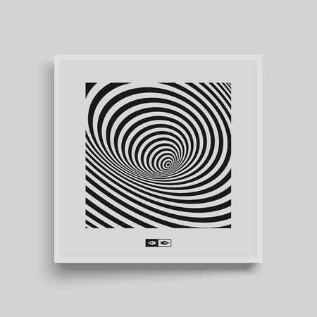 dynamical: Black and white abstract striped background. Optical Art. Textbook, booklet or notebook mockup. Business brochure. Cover design template. Vector Illustration.