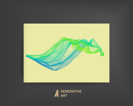 water stream: Array with Dynamic Emitted Particles. Flowing Particle Waves. Textbook, booklet or notebook mockup. Business brochure. Cover design template. Generative art. Vector Illustration.