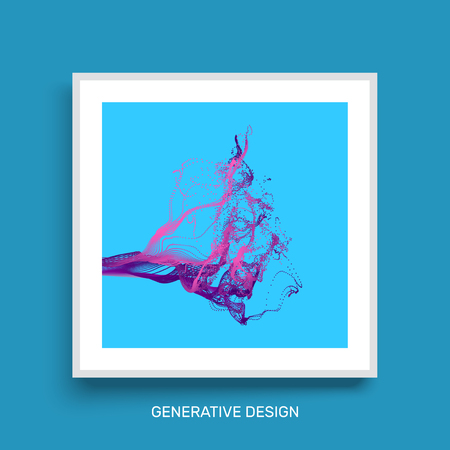 notebook cover: Water Splash Imitation. Array with Dynamic Emitted Particles. Textbook, booklet or notebook mockup. Business brochure. Cover design template. Generative art. Vector Illustration. Illustration