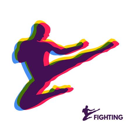 symbol sport: Karate Sprungkick. Kämpfer. Menschlicher Körper. Sport Symbol. Design-Element. Martial Arts. Vektor-Illustration.