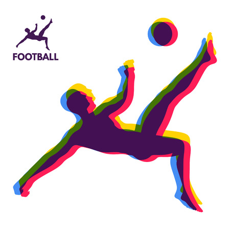 penalty: Football player shoots the ball at a jump. Sports concept. Design Element. Vector Illustration.