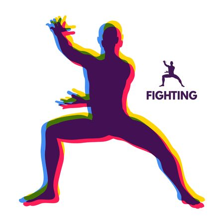 fighting stance: Fighter. Human Body. Sport Symbol. Design Element. Martial Arts. Vector Illustration.