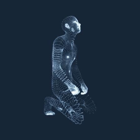 figura humana: Modelo 3D del Hombre. El hombre que ora. Concepto para la religión, adoración, amor y espiritualidad. Ilustración del vector.