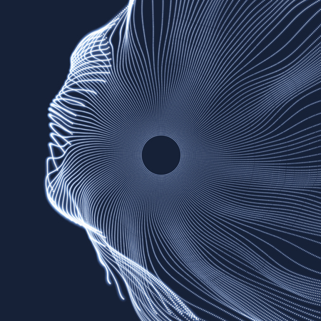 wormhole: Array with Dynamic Particles. 3D Technology Style. Abstract Background. Vector Illustration. Illustration