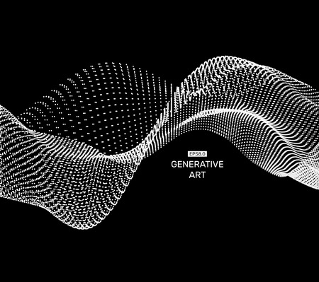 ripple wave: Wave Background. Ripple Grid. Abstract Vector Illustration. 3D Technology Style. Illustration with Dots. Network Design with Particle. Illustration