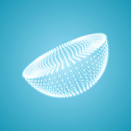 Half-sphere. Molecular lattice. Connection structure. 3d Vector Illustration.
