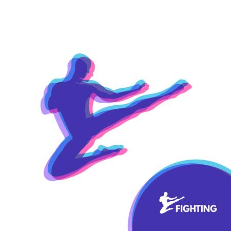 Karate Jump Kick. Fighter. Human Body. Sport Symbol. Design Element. Martial Arts. Vector Illustration.