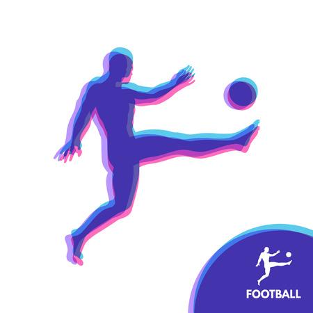symbol sport: Fußballspieler mit Ball. Sport-Konzept. Design-Element. Vektor-Illustration. Sport Symbol.