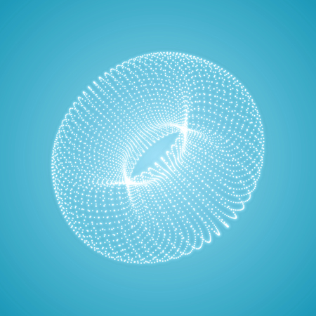 The Torus Consisting of Points. Connection Structure. 3D Grid Design. Technology Style. Molecular Lattice. Vector Illustration. Vector Illustration