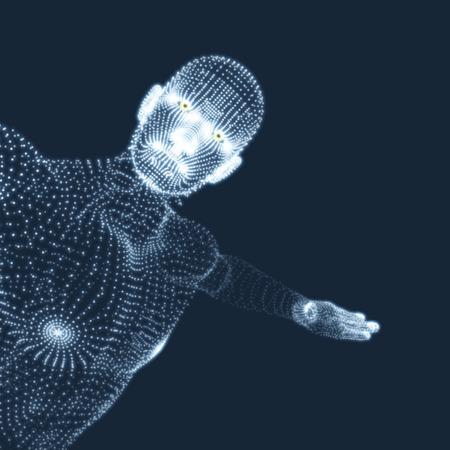 stance: 3D Model of Man. Human Body. Design Element. Vector Illustration.