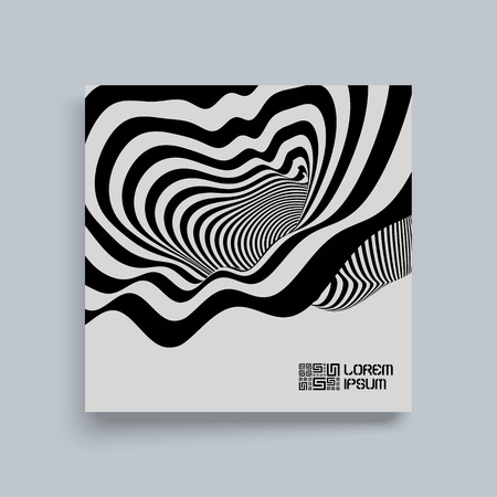 Black and White Background. Pattern With Optical Illusion. Textbook, booklet or notebook mockup. template. Vector Illustration.