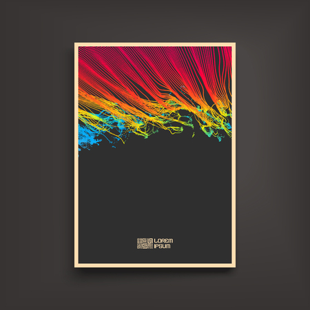 notebook cover: Fire Flame. Splash Imitation. Array with Dynamic Emitted Particles. design template. Illustration