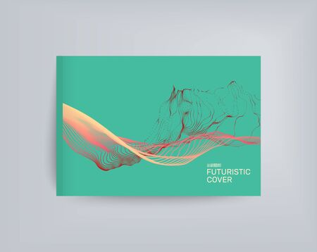 notebook cover: Water Splash Imitation. Array with Dynamic Emitted Particles. Textbook, booklet or notebook mockup. Business brochure. Illustration