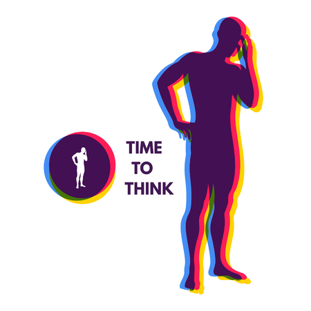 thoughtful: Thinking man. Silhouette of a standing man. Idea concept vector illustration.