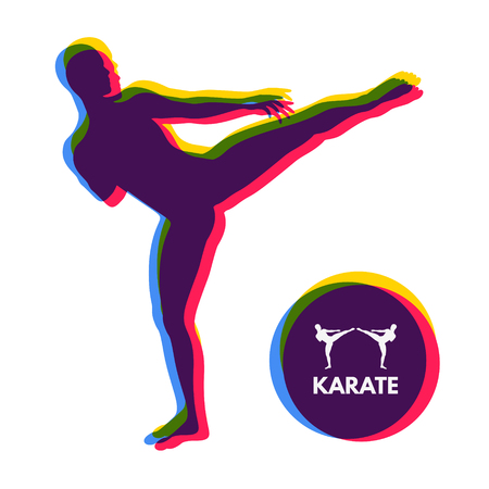 execute: Kickbox fighter preparing to execute a high kick. Silhouette of a fighting man. Design template for Sport. Emblem for training.