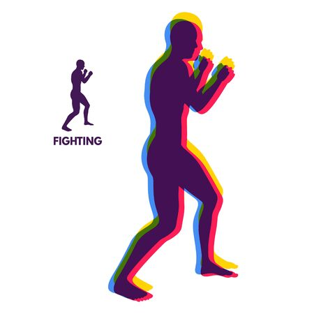 Boxer. Silhouette of a fighting man. Design template for Sport. Emblem for training. Vector Illustration.